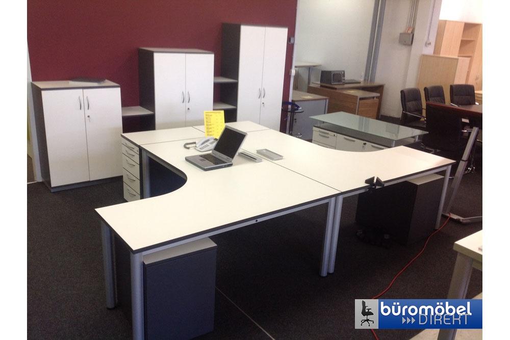 Doppelarbeitsplatz weiß/anthrazit - Büromöbel DIREKT Frankfurt