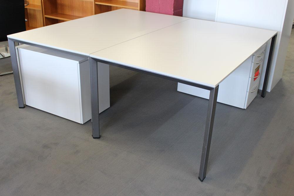 Schreibtisch 180x100 Lichtgrau - Büromöbel DIREKT Frankfurt